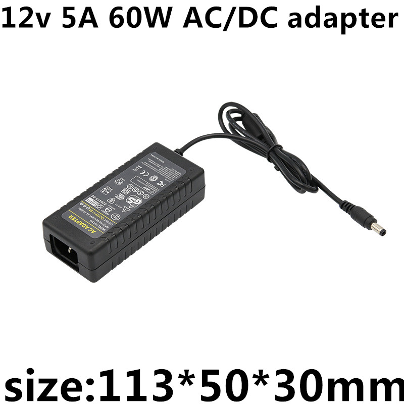 AC DC Adapter DC 12V 5A 60W 5.5*2.1 AC 110 220V Converter