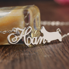 Customized Name with Pet Necklace Dog Pendant Crystal Name Jewelry Silver Necklace Women Girl Christmas Gift