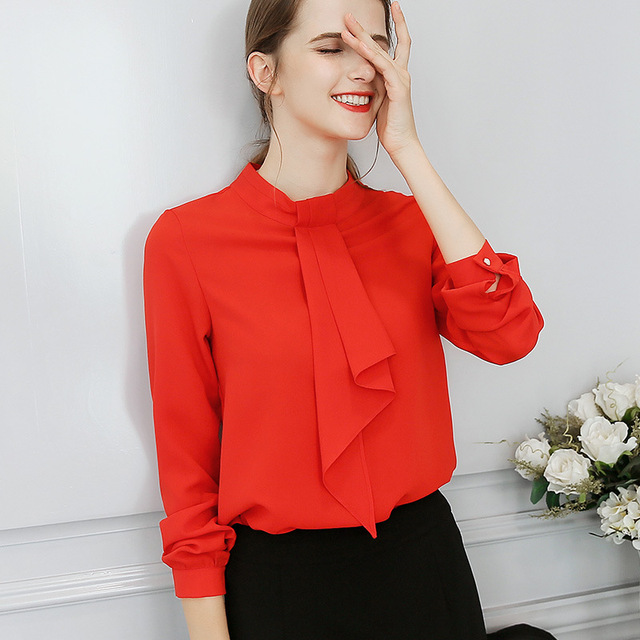 1e147a6fcc1cf0 2018 Women Office Shirts Tops Spring Summer Blouses Fashion Sweet Office  Plus Size Red Slim Blouse Long Sleeve Casual Shirt 2XL