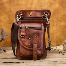 Original Leather Design Multi Function Men Casual Messenger Mochila Bag Fashion Belt Waist Pack Drop Leg Bag Tablets Pouch 2141b(China)