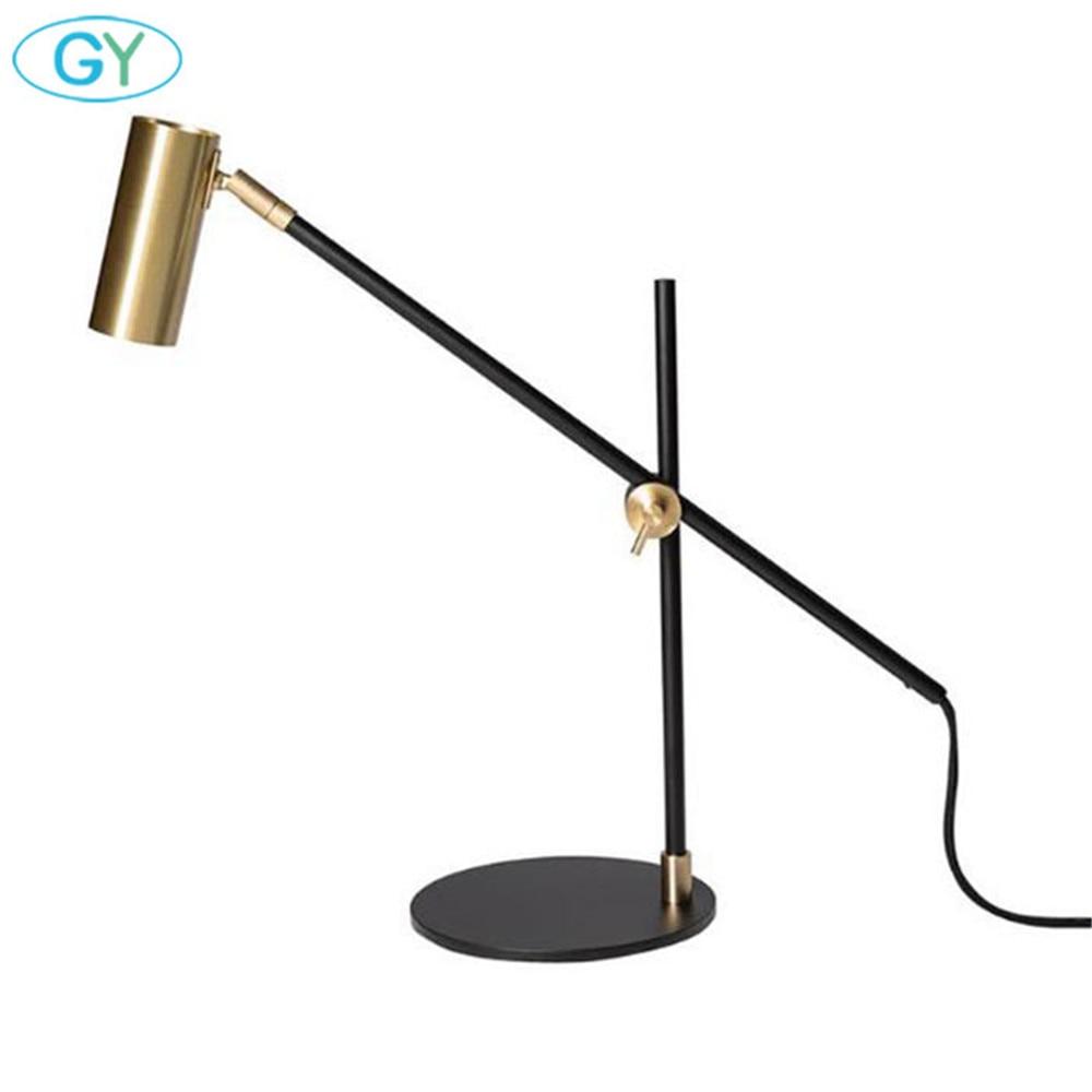 Скандинавский минималистичный светильник для дома, спальни, настольная лампа для чтения, черный бронзовый офисный Настольный светильник, художественный дизайнерский Регулируемый Настольный светильник ing - 3