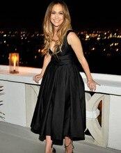 2016 V Cou Réservoir mi,mollet Noir Robes De Soirée Jennifer Lopez Celebrity Robes de Soirée Élégante robe de soirée