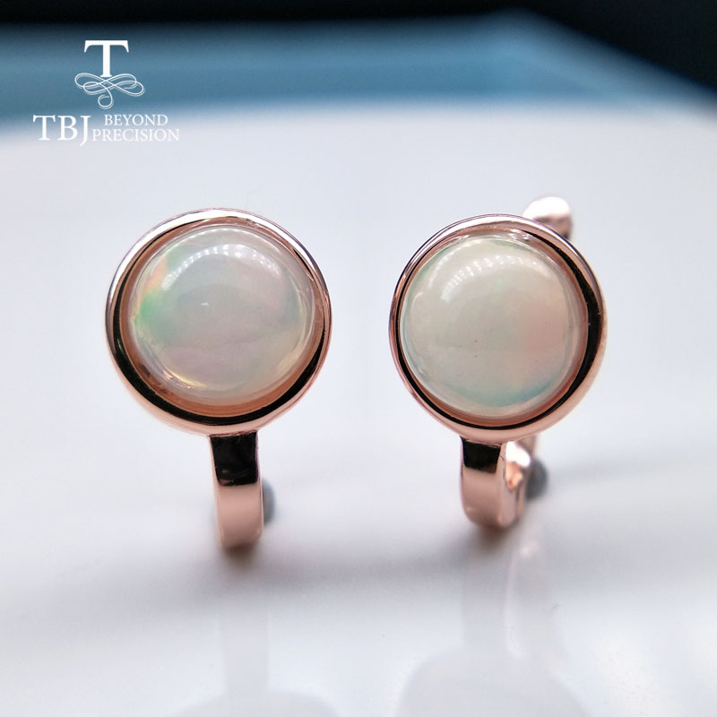 TBJ 925 sterling silver rose color small clasp dots earring with natural colorful opal gemstone simple