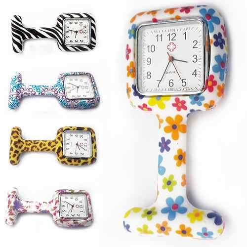 2019 feminino silicone quadrado enfermeira relógio clip-on broche bolso movimento de quartzo quente