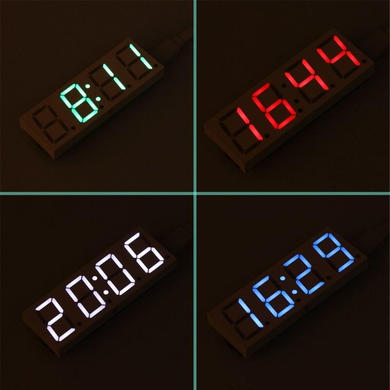 Новый DS3231 электронных DIY 0.8 дюймов матричный светодиодный часы комплект 4 цифры Дисплей 5 В Mciro USB автомобиль часы h15