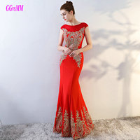 Brilliant Red Mermaid Prom Dresses Long 2017 Sexy Pink Evening Party Gowns Scoop Elastic Satin Appliques