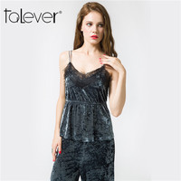 2017 Talever Summer Sexy Lace V Neck Velvet Tops Women Fashion Sleeveless Slim Velour Short Camisole