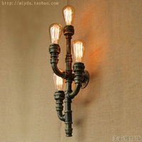 American Retro Water Pipe Vintage Wall Lamp With 4 Lights Fixtures In Loft Style Industrial Wall Sconce Apliques LED Pared
