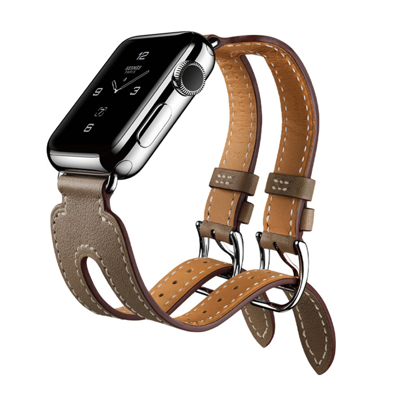 FOHUAS Double Metal Buckle Genuine Leather Band Strap Cuff Bracelet for Apple Watch iwatch 38/42mm Black Blue Red Coffee Brown istrap black brown red france genuine calf leather single tour bracelet watch strap for iwatch apple watch band 38mm 42mm