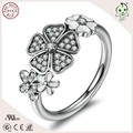 High Quality Newest Arrival Popular European Love White Enamel  925 Sterling Silver Flower Ring