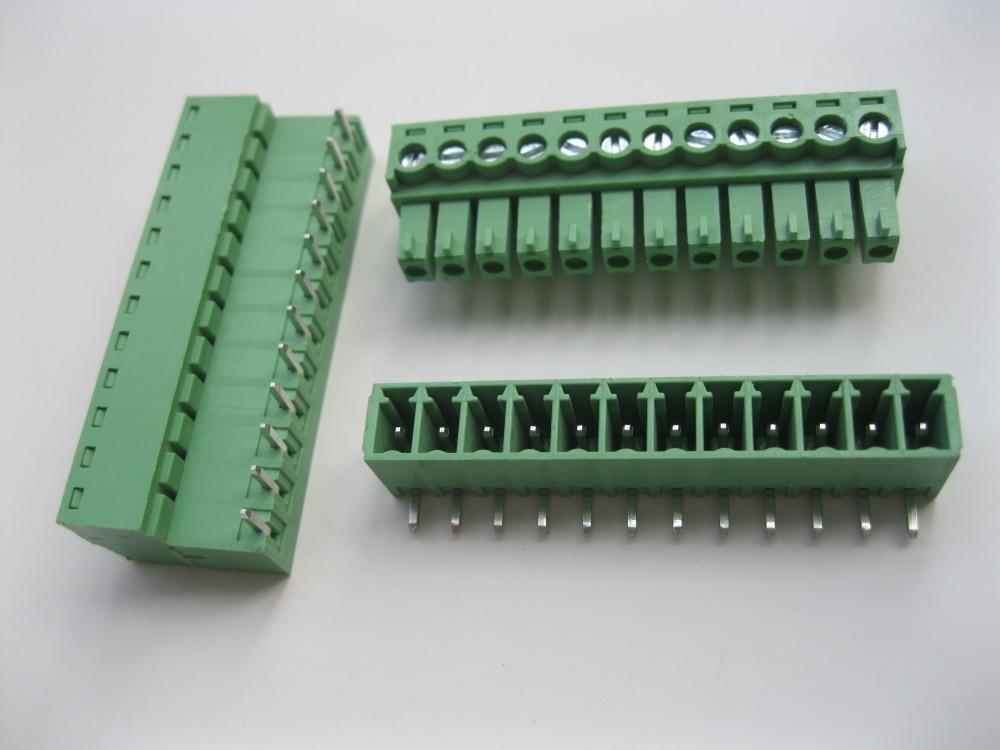 12 шт. в партии Клеммная колодка Разъем 3.81 мм угол 12 способ/контактный Зеленый вставные Тип высокое качество лидер продаж