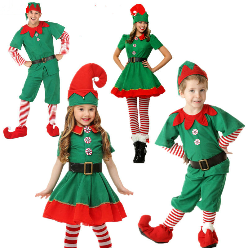 Hot Christmas Elves Costumes Women Christmas Halloween Costume Long Sleeve Green and Red Girl Elf Dress KIDS Christmas Costume