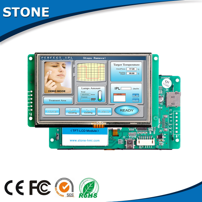 5 inch Industrial Serial LCD Module with Touch Panel + Controller Board Support Any Microcontroller