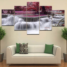 Purple trees purple waterfall 5 Panel/piece HD Print modern wall posters Canvas Art Painting For home living room decoration