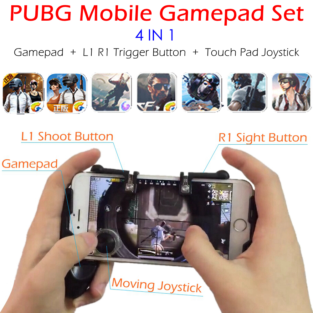 PUBG Mobile Game Controller Gamepad + L1 R1 Trigger Aim Button L1R1 Shooter + Touch Pad Joystick for iPhone Android Phone Gaming