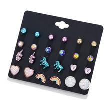 LUXSHINE 12 Pairs/lot Unicorn Licorne Rainbow Stud Earring Set Women Dazzling Mermaid Scale Rhinestone Earrings Valentines Day