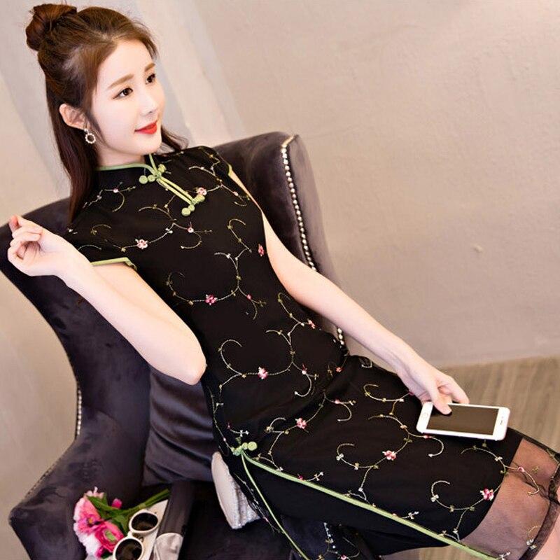 2019 Woman Chiffon Aodai Vietnam Vintage Clothing Ao Dai Asian Dress Elegant Party Dress Embroidery Improved Short Aodai