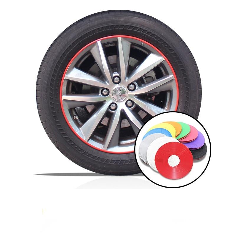 8 M Estilo de coche Hub Trim decoración Anti-colisión de la llanta de la rueda Protector anillo de neumático de la rueda de borde cambio de guardia pegatinas