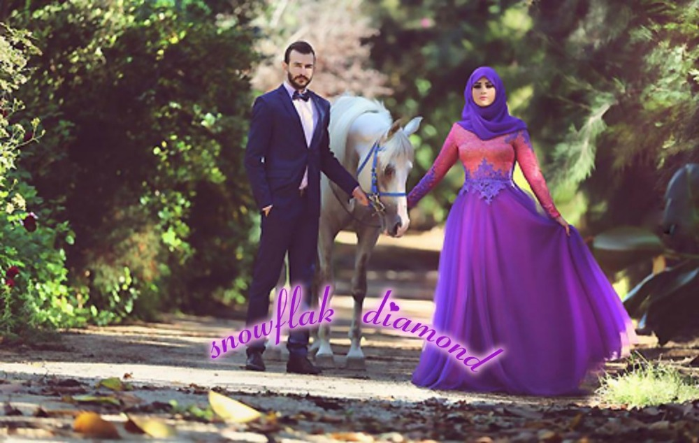 Arabic Muslim Purple Tulle And Hijab Long Wedding Dresses Sleeve Appliques Beading Bridal Gowns 2015 Latest In From