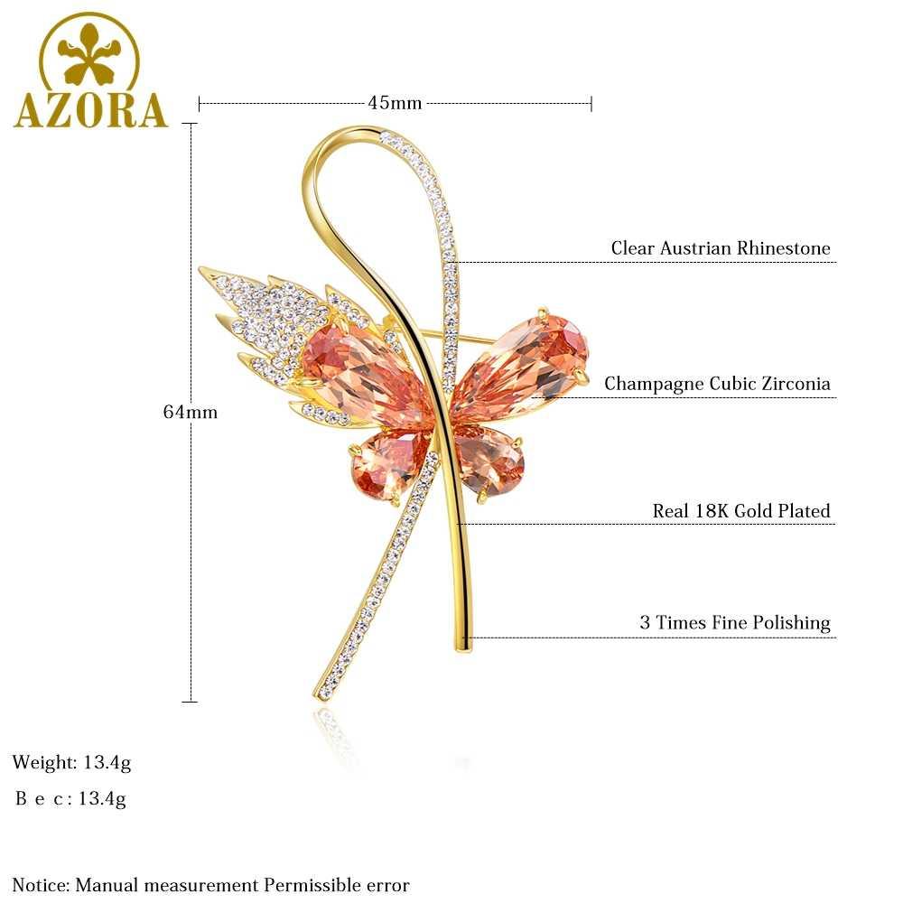 Azora Champagne Zirkonia Kubik Kupu-kupu Bros untuk Wanita Rhinestone Bros Pin Fashion Perhiasan Gaun Mantel Korsase TP0093