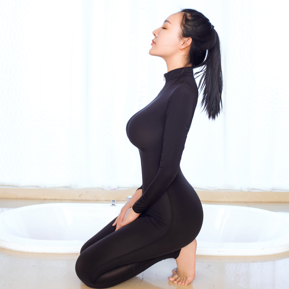 Buy Sexy Shaping Two Way Zipper Shiny Open Crotch Bust Transparent Bodysuit Turtleneck Body Stockings Club Wear Erotic Lingerie