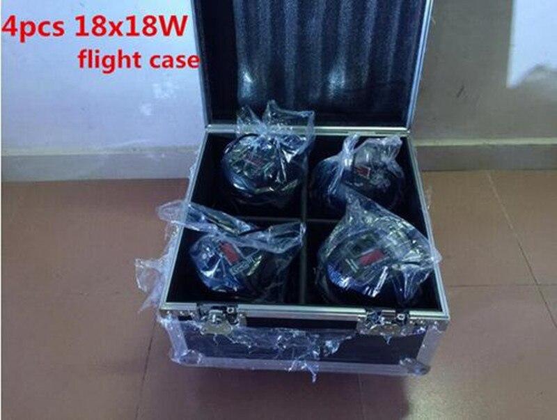4pcs 18x18W LED Par Lights with 1 flight case rgbwa uv 6in1 led par light 10pcs lot 9x18w rgbwa uv 6in1 flat led par light aluminum white housing battery dmx512 wireless pcb receiver 2 4g flight case
