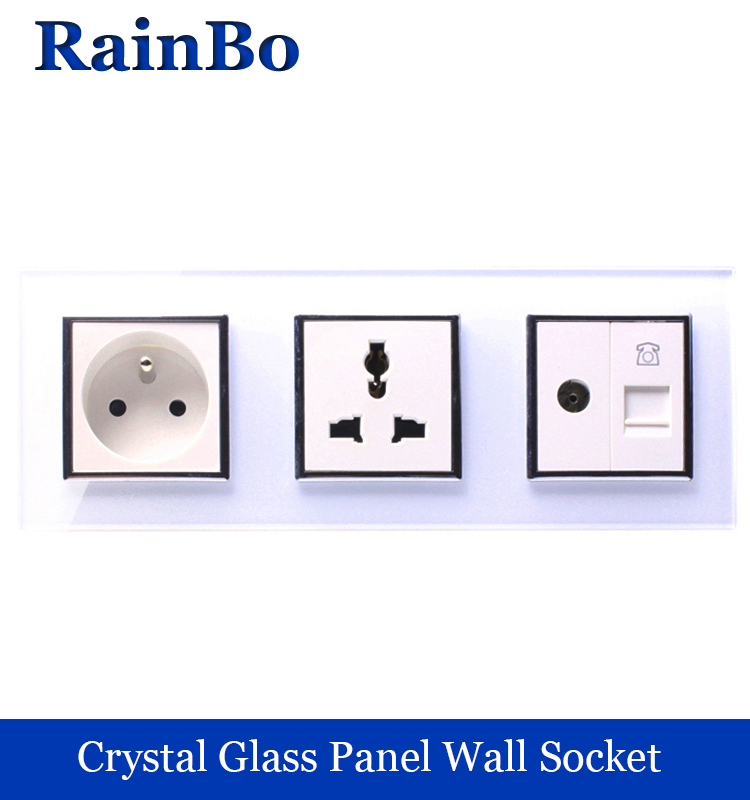 rainbo Universal Standard Power Socket Wall France TV Phone  Socket Outlet White Glass Panel AC Wall Power Socket  A38F8MU8VTW 20052 universal power socket electrical apparatus module white ac 250v