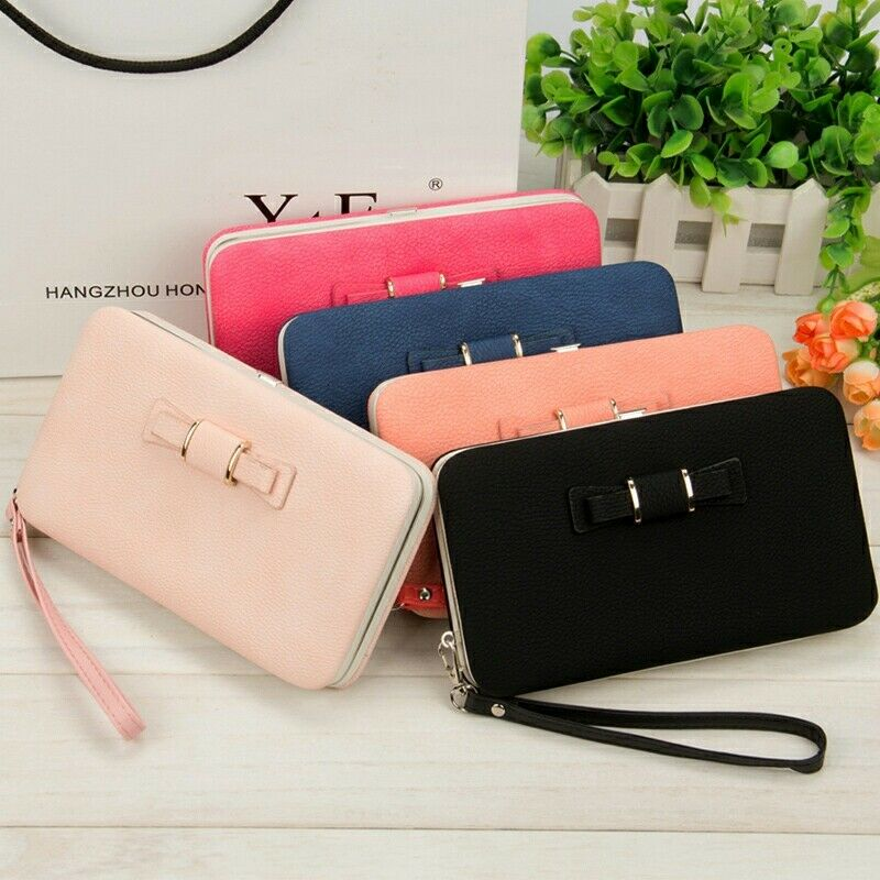 New Fashion Large Capacity Wallets Women Holder Wallet Bowknot Cell Phone Long Card Purse Pocket