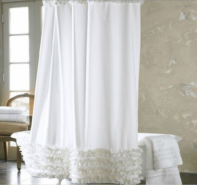 White Lace Shower Curtain Super Thick Waterproof Polyester Fashion Bath  Curtain In Shower Curtains From Home U0026 Garden On Aliexpress.com | Alibaba  Group