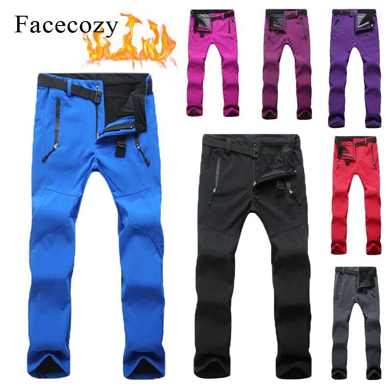 Facecozy 2018 Women Men Winter Fleece Warm Hiking Camping Pants Outdoor Windproof Waterproof Pants For Trekking Skiing Pantolon