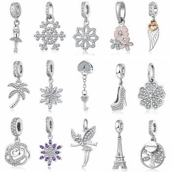 Charms Zircon Crystal Flower Snowflake High Heels Dancer Eiffel Tower  Pendant Bracelet Bangle Original Jewelry Making PA73-91 jewelry making