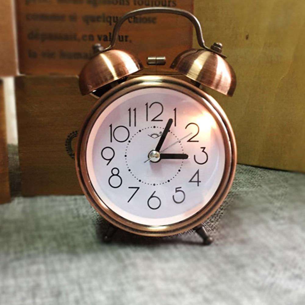 Classic Silent Double Bell Metal Alarm Clock Quartz Snooze Table Desk Bedside