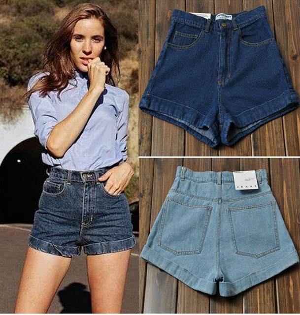 New 2017 Spring Summer Fashion Vintage High Waist Denim Shorts