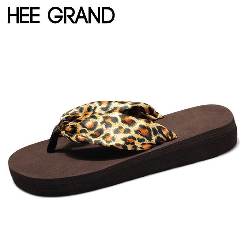 HEE GRAND Leopard Flip Flops 2017 Slip On Slides Casual Creepers Summer Style Platform Shoes Woman Plus Size Slippers XWT574 hee grand 2017 creepers summer platform gladiator sandals casual shoes woman slip on flats fashion silver women shoes xwz4074