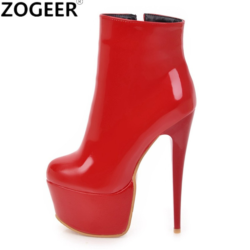 41854cf0129 Plus size 48 New Women Ankle Boots Solid PU Leather Fashion Extreme High  Heels Sexy Platform