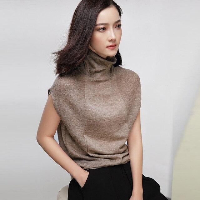 2016 Fashion European Style Wool Knitted Women Sweaters Spring Autumn Sleeveless Turtleneck Sweater Women Outerwear Coat WUJ0664