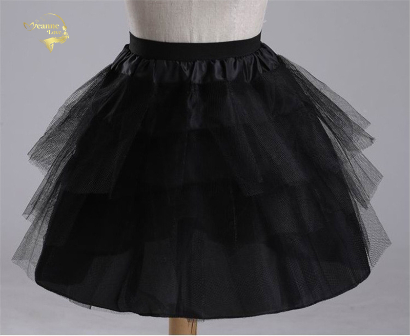 Top Quality Stock White Black Ballet Petticoat Tulle Ruffle Short Crinoline Bridal Petticoats Lady Girls Child
