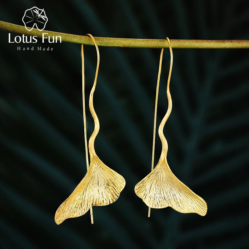 Lotus Fun Real 925 Sterling Silver Earrings Designer Fine Jewelry Vintage 18K Gold Ginkgo Leaf Drop Earrings For Women Brincos