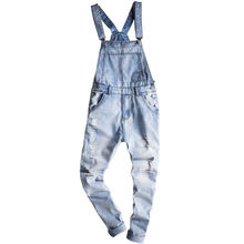 2018 Men's Light Blue Jeans Men Slim Snow Washed Denim Bib Overalls Casual Hole Ripped Fashion Jumpsuits Cargo Torn Jeans(China)