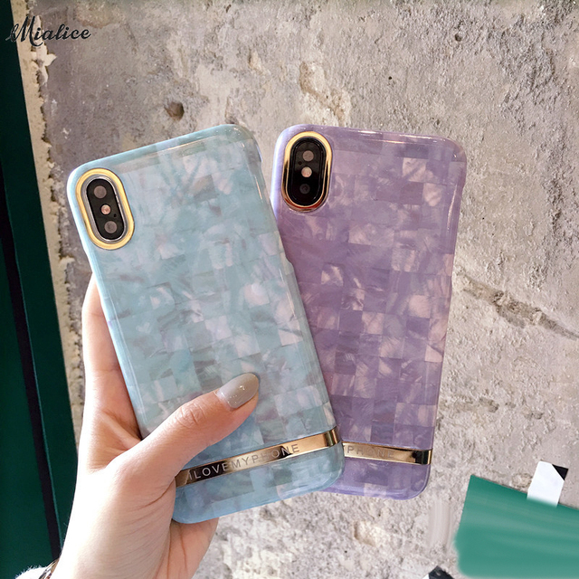 sale retailer 214b2 11cfb US $5.6 |Purple &Green Plaid Phone Case for iphone X 8 8plus 7 7plus Marble  Pc Hard Case Back Cover Case Capa for iphone 6 /6S Plus-in Fitted Cases ...