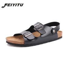 FeiYiTu New Summer sandals Beach Cork Slipper Flip Flops Shoes Men Casual Slides Shoes Flat with Plus size 35-45 white black все цены