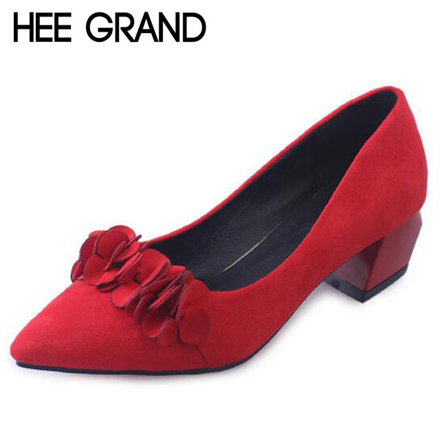 HEE GRAND 2017 Elegant Pumps Sexy High Heels Low Heels Women Wedding Shoes Casual Suede Flowers Slip On Shoes Woman WXG317
