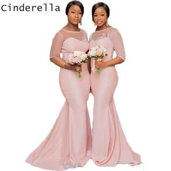 Cinderella Pink Scoop Half Sleeves Court Train Satin Mermaid Lace Applique Bridesmaid Dresses Sexy Mermaid Bridesmaid Gown