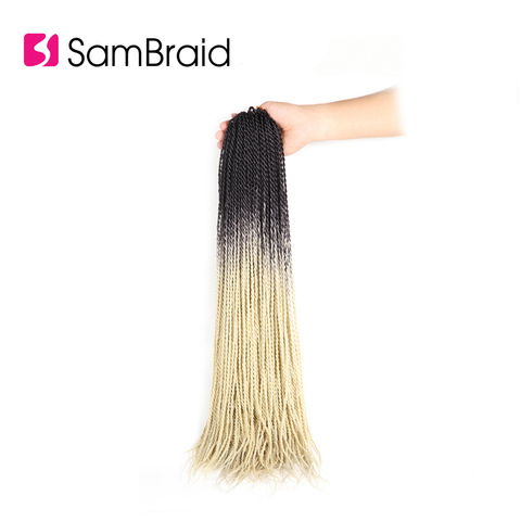 SAMBRAID Senegalese Twist Hair Crochet Braids Synthetic Braiding Hair Extensions 24 Inch 30 Roots/pack Afro Crotchet Ombre Hair Lahore