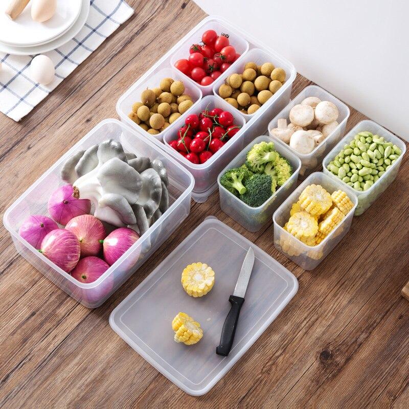 Refrigerator food storage box sorting set kitchen plastic transparent food box storage rack