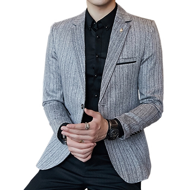 Men's small suit fashion dark stripes business casual jacket youth handsome spring and autumn Korean version of the suit men