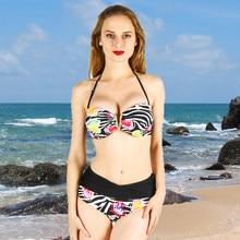 6bf7574b50967f Bikini kobiety stroje kąpielowe sexy sling niskiej talii halter głębokie v  drukowane duży rozmiar duży kubek plus biust strój ką.