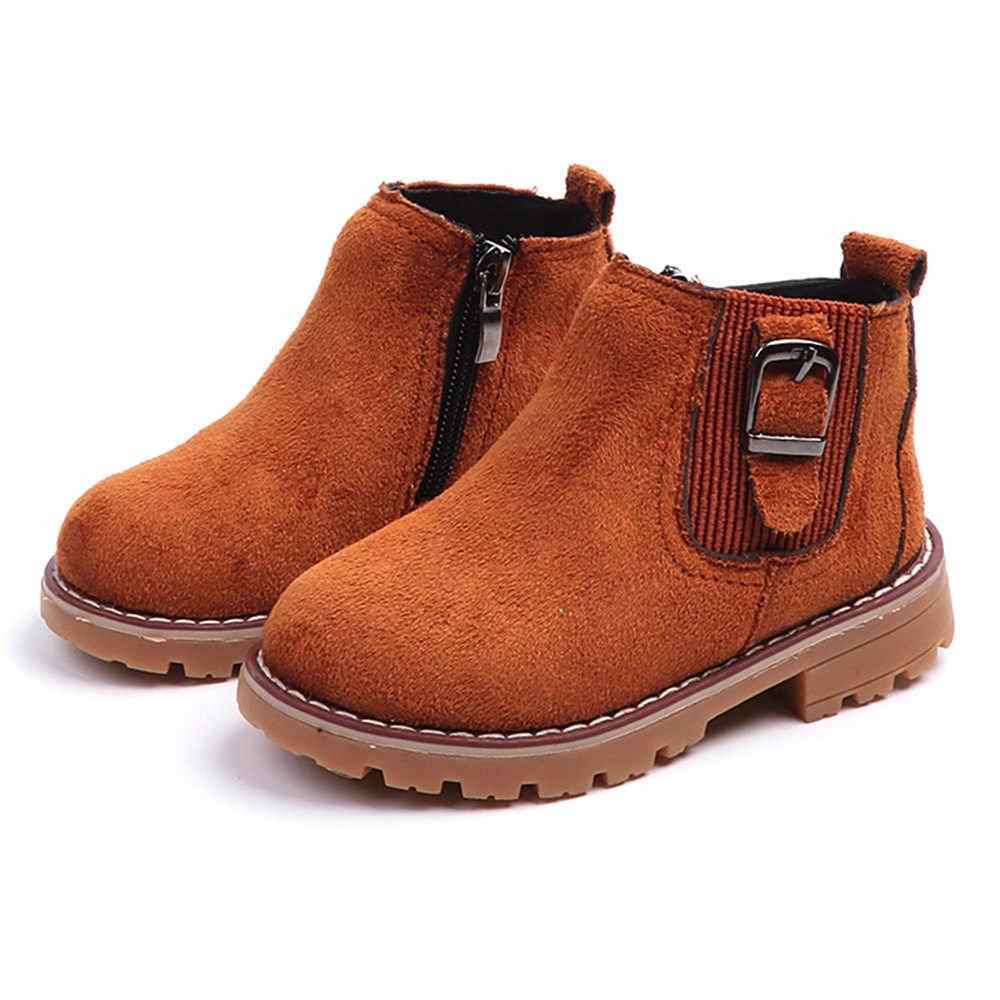 Los niños de moda de invierno Niño niño niñas botas de nieve zapatos de fondo suave bebé niñas invierno botas para la nieve de arranque para bebé almacén de EE. UU.