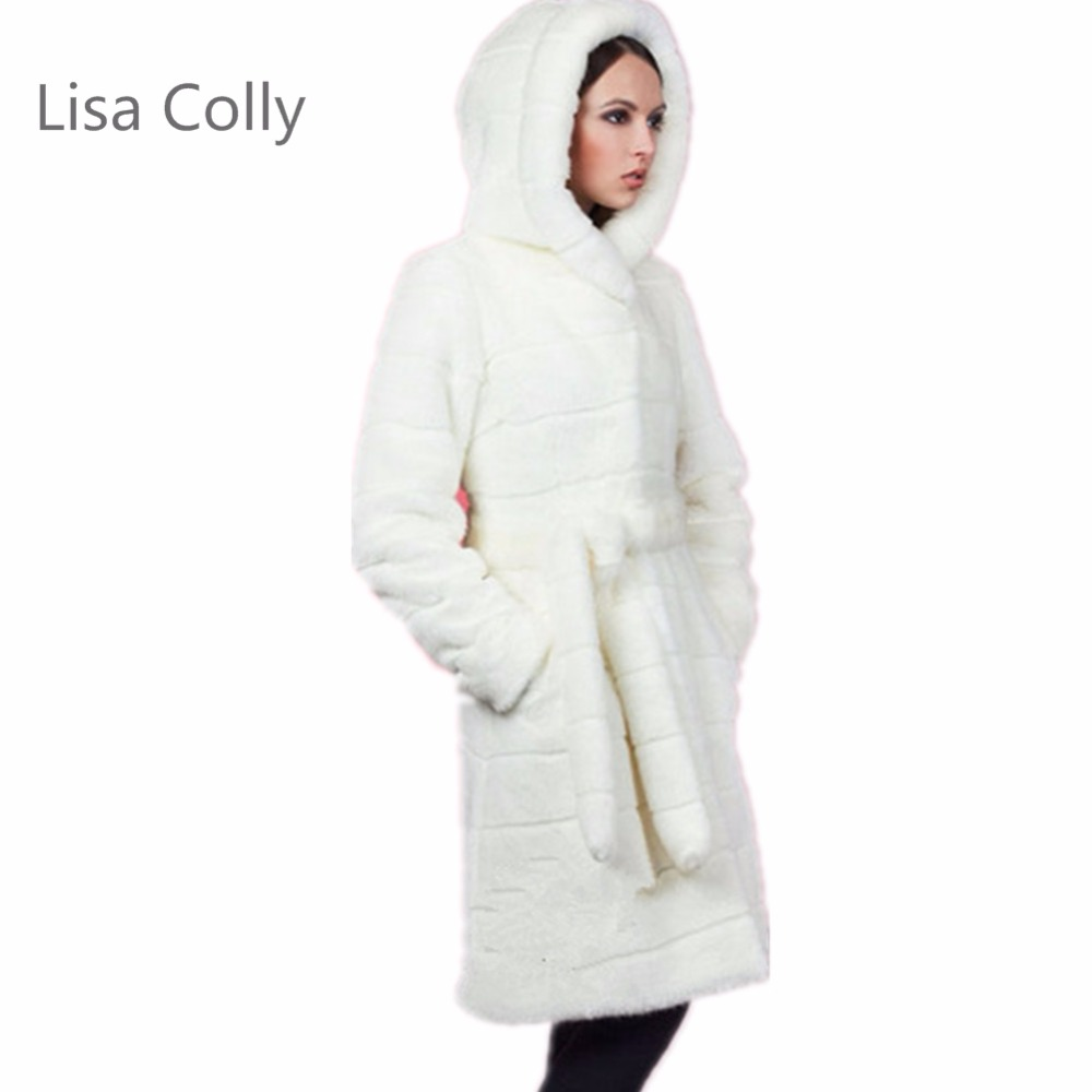 Lisa Colly New Women White Faux Fur Coat Warm Outwear Casual Winter Long Faux Mink Jacket Coats With Hood Plus Size S-6XL Size 2016 new aarrivals fashional women hoody long style warm winter coat women plus size s xxl free shipping