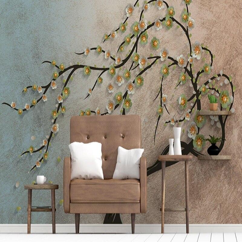 Custom mural art murals Southeast Asian Thai murals auspicious tree living room sofa wallpaper bedroom